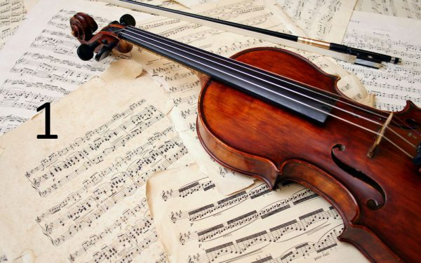 Akustikplatte mit Geige bedruckt