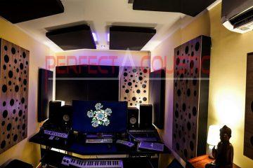 Heimstudio mit professioneller Tonübertragung-Diffusor Frontplatte Akustik bilder mit Diffusor in einem Haus