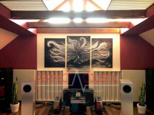 Säulendiffusor im HiFi-Raum..Bedruckte Akustikpaneele
